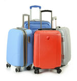 Luggage consisting of suitcases isolated on white Stock Photography