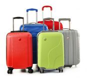 Luggage consisting of suitcases isolated on white stock photos