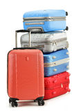 Luggage consisting of suitcases isolated on white Royalty Free Stock Images