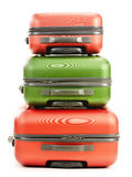 Luggage consisting of three suitcases on white Stock Image