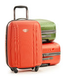 Luggage consisting of three suitcases on white stock photography
