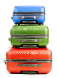 Luggage consisting of three suitcases isolated on white Stock Photos