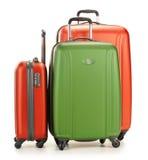 Luggage consisting of three suitcases on white. Luggage consisting of three polycarbonate suitcases on white Stock Photos