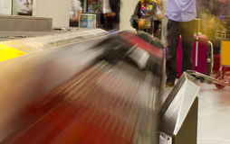 Luggage conveyor belt at an airport Royalty Free Stock Image