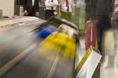 Luggage conveyor belt at an airport Stock Image