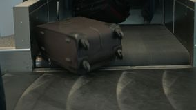 Luggage at carousel in the airport. Luggage on a conveyor belt in the airport stock video