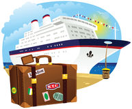 Luggage and cruise ship Stock Photo