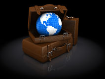 Luggage and earth globe. Abstract 3d illustration of travel luggage and earth globe, over black background Royalty Free Stock Photography