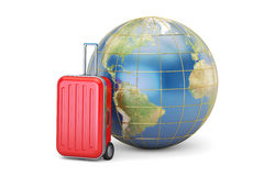Luggage and Earth globe, travel concept. 3D rendering Royalty Free Stock Photos