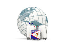 Luggage with flag of american samoa. Three bags in front of glob. E. 3D illustration Stock Photo