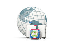 Luggage with flag of belize. Three bags in front of globe. 3D illustration Stock Photo