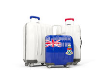 Luggage with flag of cayman islands. Three bags isolated on whit. E. 3D illustration Stock Photo