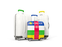 Luggage with flag of central african republic. Three bags isolat. Ed on white. 3D illustration Royalty Free Stock Photos