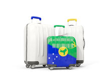 Luggage with flag of christmas island. Three bags isolated on wh. Ite. 3D illustration Stock Images