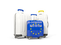 Luggage with flag of european union. Three bags isolated on whit. E. 3D illustration Royalty Free Stock Image
