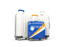 Luggage with flag of marshall islands. Three bags isolated on wh. Ite. 3D illustration Stock Photo