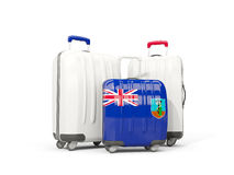 Luggage with flag of montserrat. Three bags isolated on white Royalty Free Stock Photography