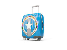 Luggage with flag of northern mariana islands. Suitcase isolated Royalty Free Stock Photos