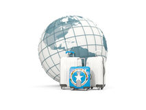 Luggage with flag of northern mariana islands. Three bags in fro. Nt of globe. 3D illustration Stock Photography
