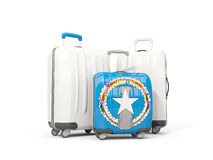 Luggage with flag of northern mariana islands. Three bags isolat. Ed on white. 3D illustration Stock Image