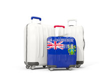 Luggage with flag of pitcairn islands. Three bags isolated on wh. Ite. 3D illustration Royalty Free Stock Photography