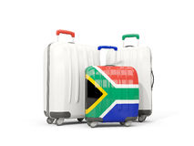 Luggage with flag of south africa. Three bags isolated on white Stock Photo
