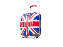 Luggage with flag of united kingdom. Suitcase isolated on white Stock Photos