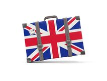 Luggage with flag of united kingdom. Suitcase isolated on white Royalty Free Stock Image