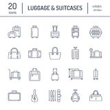 Luggage flat line icons. Carry-on, hardside suitcases, wheeled bags, pet carrier, travel backpack. Baggage dimensions. And weight thin linear signs Royalty Free Stock Photography