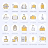 Luggage flat line icons. Carry-on, hardside suitcases, wheeled bags, pet carrier, travel backpack. Baggage dimensions. And weight colored thin linear signs for Royalty Free Stock Images