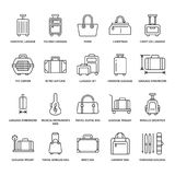 Luggage flat line icons. Carry-on, hardside suitcases, wheeled bags, pet carrier, travel backpack. Baggage dimensions. And weight thin linear signs Stock Photography