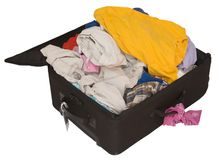 Luggage Full. An isolated picture of an overstuffed suitcase Royalty Free Stock Photography