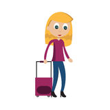 Luggage. Girl character with suitcase travelling Stock Images