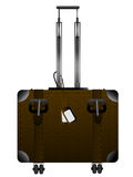 Luggage graphic. Big leather luggage with handle and wheels over white Stock Photo