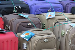 Luggage. GRAZ, AUSTRIA: CIRCA JULY 2015: suitcases and bags for sale at a local market Stock Photos