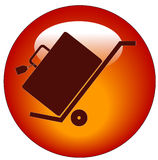 Luggage on hand cart button vector illustration