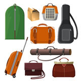 Luggage with handle, animal cage, leather purse, tube for documents Royalty Free Stock Image