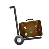 Luggage and handtruck dolly illustration Stock Images