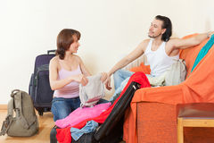 With luggage in home going on holiday Stock Photography