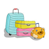 Luggage icon in cartoon style  on white background. Family holiday symbol stock vector illustration. Royalty Free Stock Images