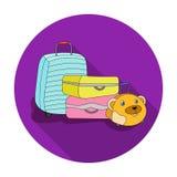 Luggage icon in flat style isolated on white background. Family holiday symbol stock vector illustration. Stock Photo