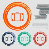Luggage icon on the red, blue, green, orange buttons for your website and design with space text. Illustration Royalty Free Stock Photos