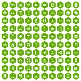 100 luggage icons hexagon green. 100 luggage icons set in green hexagon isolated vector illustration vector illustration