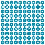 100 luggage icons sapphirine violet. 100 luggage icons set in sapphirine hexagon isolated vector illustration Stock Image