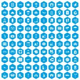 100 luggage icons set blue. 100 luggage icons set in blue hexagon isolated vector illustration vector illustration
