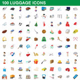 100 luggage icons set, cartoon style. 100 luggage icons set in cartoon style for any design vector illustration Royalty Free Stock Photo