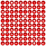 100 luggage icons set red. 100 luggage icons set in red circle isolated on white vector illustration Royalty Free Stock Image