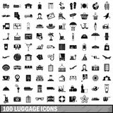 100 luggage icons set, simple style. 100 luggage icons set in simple style for any design vector illustration stock illustration