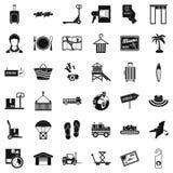 Luggage icons set, simple style. Luggage icons set. Simple set of 36 luggage vector icons for web isolated on white background Royalty Free Stock Photo
