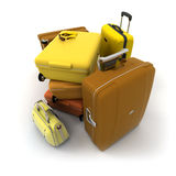 Luggage kit in autumn colors Stock Image